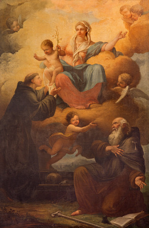 miracoli: ROME, ITALY - MARCH 9, 2016:The Madonna with St. Anthony of Pauda and St. Anthony of Egypt in church Chiesa di Santa Maria dei Miracoli by Henri Gascard (1635-1701) Editorial