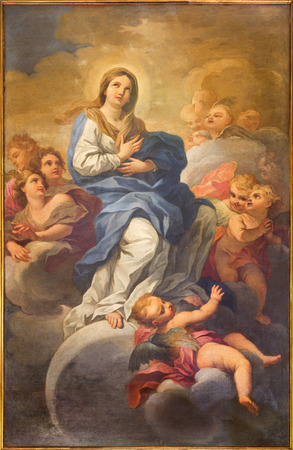 immaculate: ROME, ITALY - MARCH 9, 2016: The Immaculate Conception painting in church Chiesa di San Silvestro in Capite by Lucovico Gimignani  (1695 - 1696).