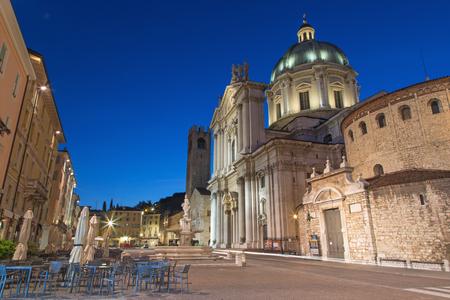 BRESCIA, ITALY - MAY 21, 2016: The Dom at evening dusk (Duomo Nuovo and Duomo Vecchio). Editorial