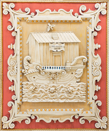 christendom: ROME, ITALY - MARCH 10, 2016: The detail of ceiling coffered carved panel with the symbolic Noahs Ark in Basilica di Santa Maria in Dominica by Pierino del Baga (1566).