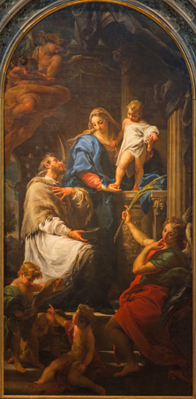 pace: BRESCIA, ITALY - MAY 22, 2016: The painting of Madonna with the Child and St. John the Nepomuk in church Chiesa di Santa Maria della Pace by Pompeo Batoni (1746)