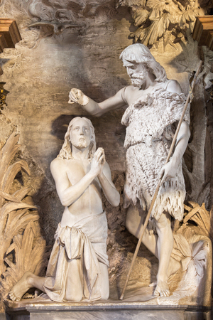 baptism of jesus: CREMONA, ITALY - MAY 24, 2016: The statue of Baptism of Christ in Chiesa di Santa Agata from 19. cent. by unknown artist.