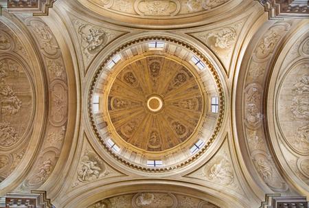 BRESCIA, ITALY - MAY 22, 2016: The monochromatic fresco in cupola of church Chiesa di Santa Maria della Pace by Francesco Monti (1738).