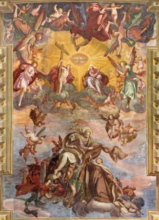 carmine: BRESCIA, ITALY - MAY 23, 2016: The fresco of Assumption of Virgin Mary on the vault ofn church Chiesa di Santa Maria del Carmine by Tommaso Sandrini  (1580 - 1630)