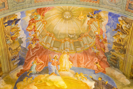 melle: ROME, ITALY - MARCH 10, 2016: The Help Of Christians and Jesus ceiling fresco (1957-1965) in church Basilica di Santa Maria Ausiliatrice by the Salesian priest and artist Don Giuseppe Melle.