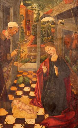 AVILA, SPAIN, APRIL - 18, 2016: The Holy Family painting by Garcia del Barco (1496) in Catedral de Cristo Salvador in chapel Capilla De Nuestra Senora De Gracia.