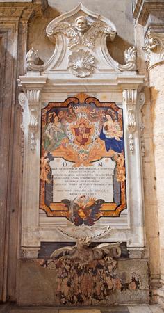 ROME, ITALY - MARCH 9, 2016: The Monument of Maria Eleonora Boncompagni in church Basilica di Santa Maria del Popolo by Domenico Gregorini in 1749.