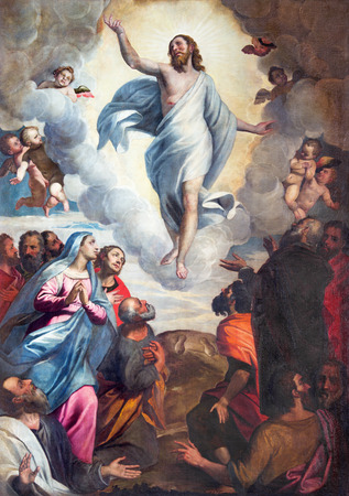 BRESCIA, ITALY - MAY 22, 2016: The painting Ascension of the Lord in church Chiesa di Santa Maria del Carmine by Bernardino Gandino (1587 - 1651). 에디토리얼
