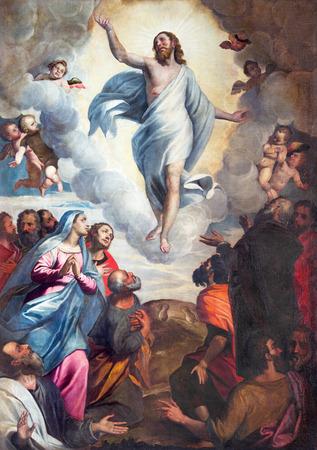 Brescia, Italia - 22 de mayo, 2016: La Ascensión del Señor pintura en la iglesia Iglesia de Santa María del Carmine por Bernardino Gandino (1587-1651). Editorial