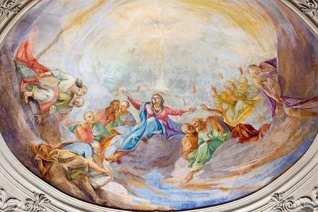 BRESCIA, ITALY - MAY 22, 2016: The fresco of Pentecost on side cupola in church Chiesa di Santa Maria del Carmine (Pentecost chapel) by Giovanni Luca Molinari (1724). Editorial