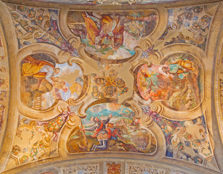 carmine: BRESCIA, ITALY - MAY 23, 2016: The ceiling frescoes from life of Moses in church Chiesa di Santa Maria del Carmine by Tommaso Sandrino (1580 – 1630)