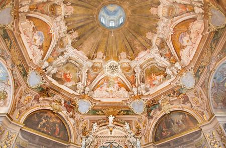 BRESCIA, ITALY - MAY 21, 2016: The fresco of main apse with the symbols of cardinal virtues in Chiesa di Santa Maria della Carita by Ferdinando Cairo and Luigi Vernazal from 18. cent. Editorial