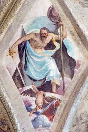 BRESCIA, ITALY - MAY 21, 2016: The ceiling fresco of Saint James the Greater in church Chiesa del Santissimo Corpo di Cristo by Jesuit Benedetto da Marone (1550- 1565).
