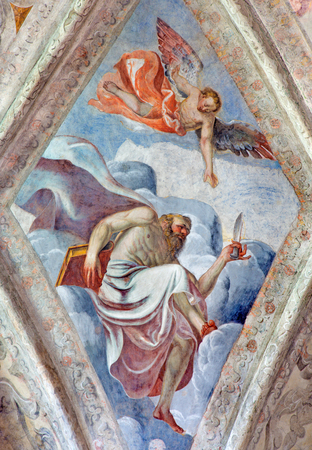 cristo: BRESCIA, ITALY - MAY 21, 2016: The ceiling fresco of Saint Matthew the Apostle in church Chiesa del Santissimo Corpo di Cristo by Jesuit Benedetto da Marone (1550- 1565). Editorial