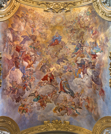 ROME, ITALY - MARCH 9, 2016: The vault fresco Assumption of Our Lady by Giacinto Brandi (1682) in church Chiesa di San Silvestro in Capite.