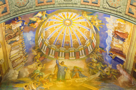 ROME, ITALY - MARCH 10, 2016: The St Joseph the Patron of the Universal Church ceiling fresco (1957-1965) in church Basilica di Santa Maria Ausiliatrice by Salesian priest and Don Giuseppe Melle.