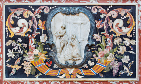 chiesa: BRESCIA, ITALY - MAY 22, 2016: The stone mosaic on the side altar  in church Chiesa di Santa Maria del Carmine by unknown artist from 17. cent.