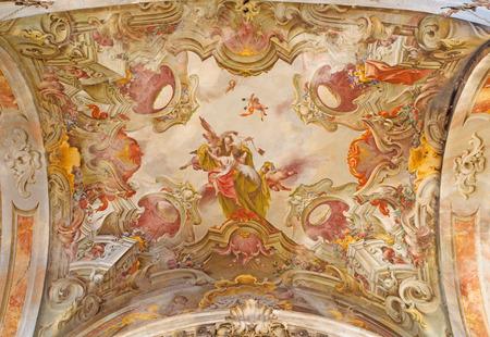 carmine: BRESCIA, ITALY - MAY 23, 2016: The ceiling frescoes if angels with the Sscpular in church Chiesa di Santa Maria del Carmine by Tommaso Sandrino (1580 – 1630)