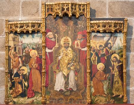 15 18: AVILA, SPAIN, APRIL - 18, 2016:The gothic side altar of St. Peter by Fernando Gallego (15. cent.) in Catedral de Cristo Salvador in chapel Capilla de San Pedro.