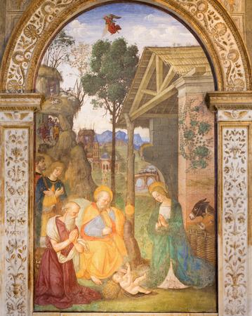 ROME, ITALY - MARCH 9, 2016: The fresco Nativity with the St. Jerome by Bernardino Pinturicchio (1488 - 1490) in Rovere chapel in church Basilica di Santa Maria del Popolo.