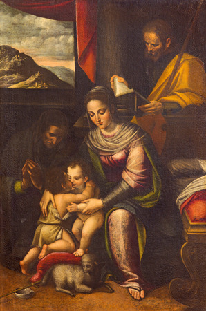 family church: CREMONA, ITALY - MAY 24, 2016: The painting of Holy Family with St. Elizabeth and St. John the Baptist in church Chiesa di Santa Agata by Lucia Anguissola (1535 - 1565).