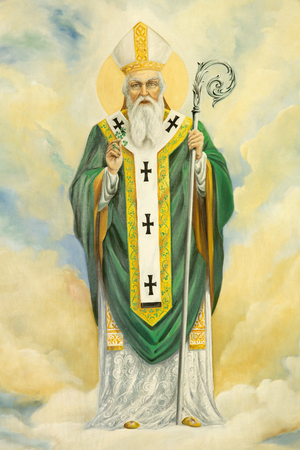 melle: ROME, ITALY - MARCH 10, 2016: The St. Patrick painting in church Basilica di Santa Maria Ausiliatrice by the Salesian priest and artist Don Giuseppe Melle.