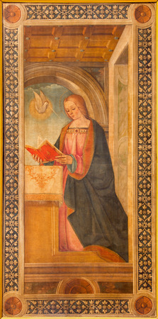 annunciation of mary: CREMONA, ITALY - MAY 25, 2016: The Virgin Mary from Annunciation paint in cathedral by Tommaso Aleni from 16. cent. Editorial