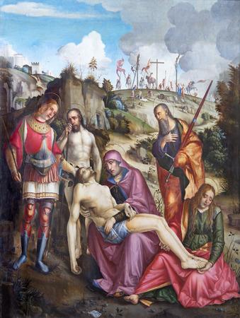 crema: BRESCIA, ITALY - MAY 23, 2016: The painting of Deposition of the cross or Pieta in church Chiesa di San Alessandro by Vincenzo Civerchio da Crema (1504).