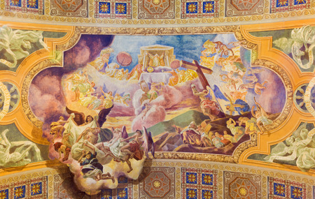 melle: ROME, ITALY - MARCH 10, 2016: The fresco The Offering of the Sacrifice of the Body and Blood of Christ (1957-1965) in church Basilica di Santa Maria Ausiliatrice by Don Giuseppe Melle.