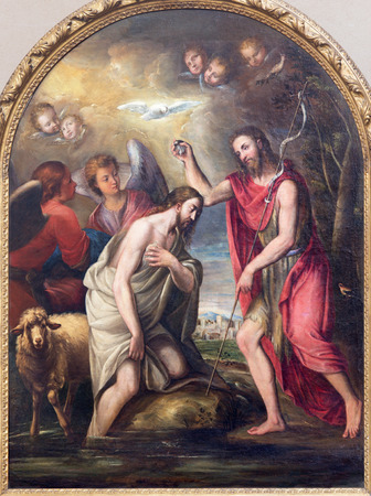 miracoli: BRESCIA, ITALY - MAY 22, 2016: The painting of Baptism of Christ in church Chiesa di Santa Maria dei Miracoli by unknown artist of 16. cent. Editorial