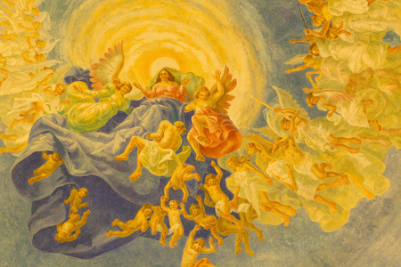 melle: ROME, ITALY - MARCH 10, 2016: The detail of main cupola with Assumption fresco (1957-1965) in church Basilica di Santa Maria Ausiliatrice by the Salesian priest and artist Don Giuseppe Melle.