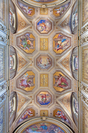 ROME, ITALY - MARCH 9, 2016: The ceiling fresco with the Four Evangelist in church Chiesa di Santa Maria in Aquiro by Cesare Mariani from (1826 - 1901 in neo-mannerist style.