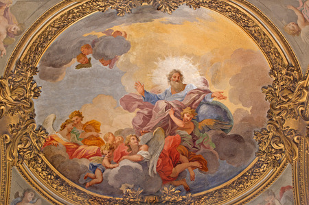 ROME, ITALY - MARCH 9, 2016: The fresco The St. Francis Preaching by Luigi Garzi (1688 - 1690) in church Chiesa di San Silvestro in Capite and The Immaculate Conception chapel.