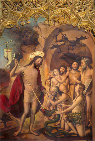 eva: AVILA, SPAIN, APRIL - 18, 2016: The paintig of The Resurrected christ in the Limbo with Adam and Eva and patriarchs on the main altar of Catedral de Cristo Salvador by Pedro Berruguete (1499).