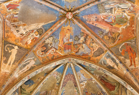 CREMONA, ITALY - MAY 24, 2016: The ceiling fresco with the St. John the Evangelist in church Chiesa di San Agostino in chapel Cappella Cavalcabo by Bonifacio Bembo (1420 - 1480)