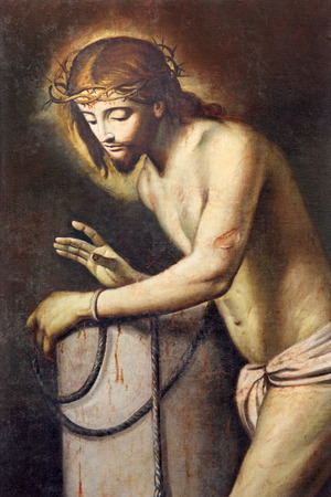 flagellation: BRESCIA, ITALY - MAY 22, 2016: The painting of Jesus in bond and the Flagellation column in Chiesa di San Pietro in Olvieto from 17. cent. by unknown artist. Editorial