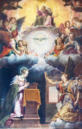 symbolic: BRESCIA, ITALY - MAY 22, 2016: The painting of Annunciation on the main altar of church Chiesa di Santa Maria del Carmine by Peter de Witte, nickname Candido (1540 - 1628).