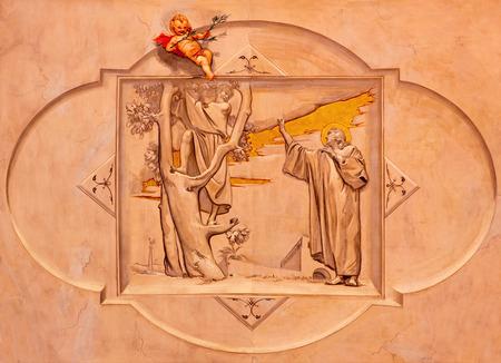 crist: BRESCIA, ITALY - MAY 22, 2016: The fresco of Christ Calling Zacchaeus in church Chiesa di Cristo Re by Vittorio Trainini (1936)