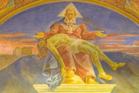 melle: ROME, ITALY - MARCH 10, 2016: The fresco God the Father with the death Son (1957-1965) in church Basilica di Santa Maria Ausiliatrice by the Salesian Don Giuseppe Melle. Editorial
