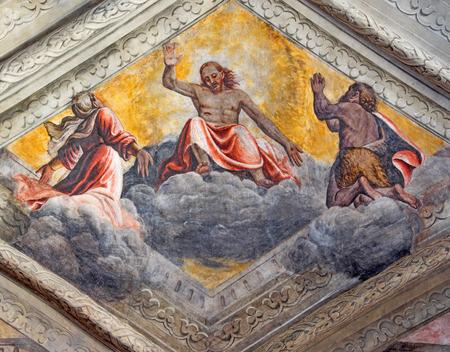 BRESCIA, ITALY - MAY 21, 2016: The fresco of Jesus with Virgin Mary and St. John the Baptist on the cieling of church Chiesa del Santissimo Corpo di Cristo by Jesuit Benedetto da Marone (1550- 1565). Editorial