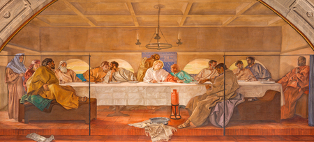 re: BRESCIA, ITALY - MAY 22, 2016: The fresco of Last Supper in church Chiesa di Christo Re by Vittorio Trainini (1936)