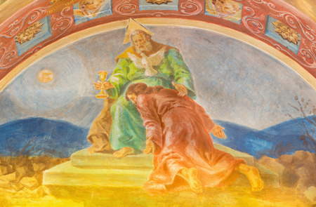 melle: ROME, ITALY - MARCH 10, 2016: The fresco God the Father accepts the sacrifice of the Son (1957-1965) in church Basilica di Santa Maria Ausiliatrice by the Salesian Don Giuseppe Melle.