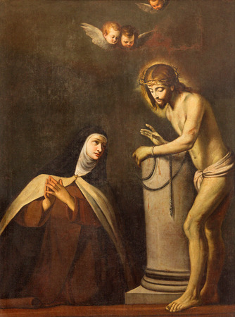 carmelite nun: BRESCIA, ITALY - MAY 22, 2016: The painting of apparition of Jesus in bond to St. Theresia of Avila in Chiesa di San Pietro in Olvieto from 17. cent. by unknown artist. Editorial