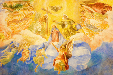 melle: ROME, ITALY - MARCH 10, 2016: The fresco Coronation of Our Lady (1957-1965) in church Basilica di Santa Maria Ausiliatrice by Salesian Don Giuseppe Melle.