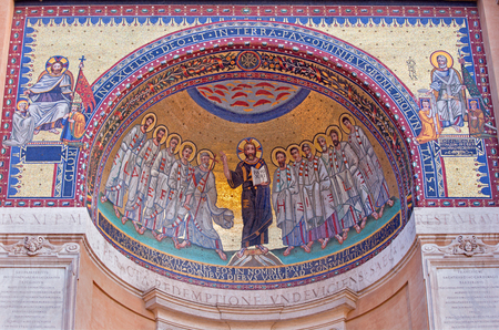 banqueting: ROME, ITALY - MARCH 11, 2016: The Mosaic Jesus and the Apostle by P. L. Ghezzi (1674 - 1755) as the copies of the mosaic from the Triclinium of St.Leo III, the banqueting hall of old Lateran Palace.