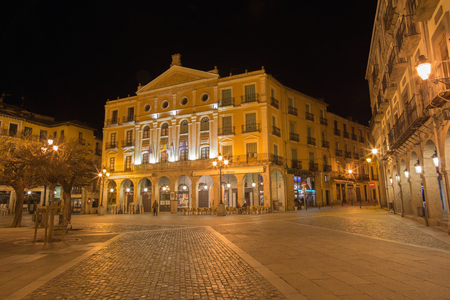 bravo: SEGOVIA, SPAIN, APRIL - 13, 2016: The Juan Bravo theater on the Plaza Mayor square at night.
