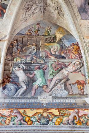 persecution: BRESCIA, ITALY - MAY 21, 2016: The fresco of Martyrium of St. Margaret in church Chiesa del Santissimo Corpo di Cristo by Jesuit Benedetto da Marone (1550- 1565). Editorial