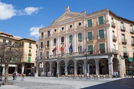 bravo: SEGOVIA, SPAIN, APRIL - 15, 2016: The Juan Bravo theater on the Plaza Mayor square.