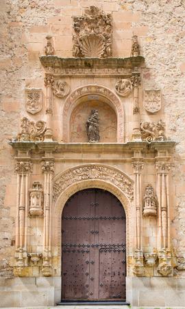 plateresque: SALAMANCA, SPAIN, APRIL - 18, 2016: The plateresque portal of of Convento de las Duenas from 16. cent.