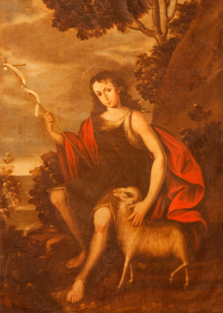 SEGOVIA, SPAIN, APRIL - 14, 2016: The painting of young St. John the Baptist in church Monasterio de San Antonio el Real by unknown artist of 16. cent.